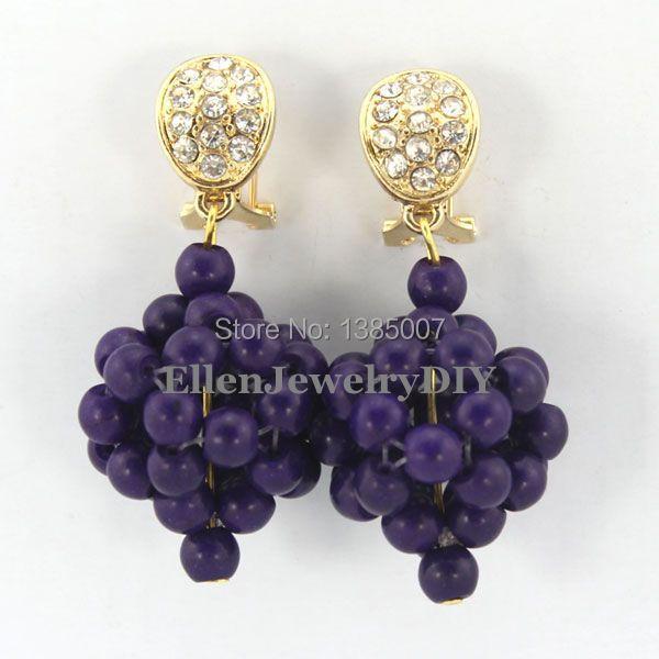 Dark Purple Beautiful Beads Earrings Nigerian Bridesmaid Wedding Gift African Bridal Jewelry