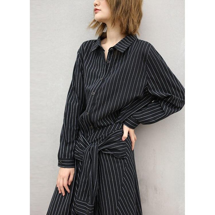 Europe et états-unis vêtements pour femmes automne robe rayée simplifiée robe pour femmes coton et lin livraison gratuite