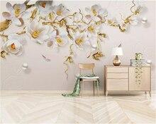 Beibehang Custom wallpaper Modern minimalist fashion jewelry embossed high quality tulip living room wall home decor