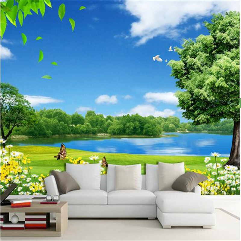 Beibehang Custom Flower Lake Trees Natural Beauty Painting Photo 3d Wall Mural Wallpaper Wall Papers Home Decor Papel Flooring