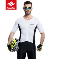 New Santic Mens Summer Cycling Jerseys Pro Racing 4D Padded MTB Road Bike Jersey Breathable UV400 Quick Dry Bicycle Clothing