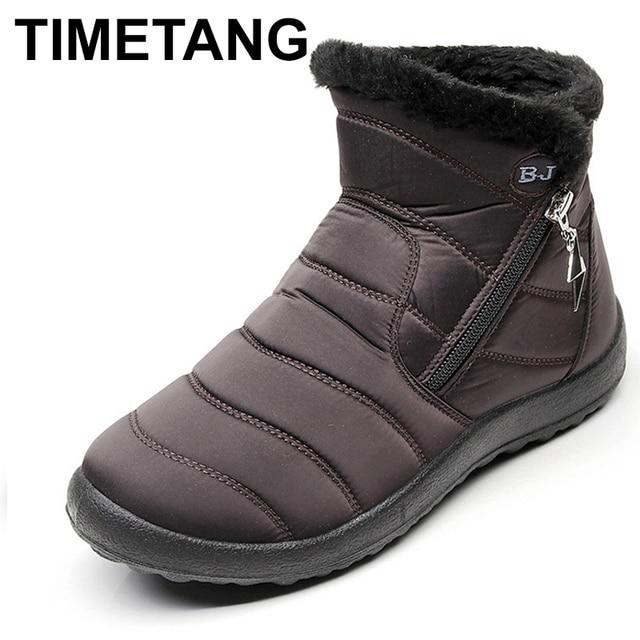 TIMETANG2018 Giày Mùa Đông Phụ Nữ Tuyết Khởi Động Với Sang Trọng Bên Trong Botas Mujer Không Thấm Nước Cộng Với Kích Thước 43 Khởi Động Mùa Đông Nữ BootiesE229