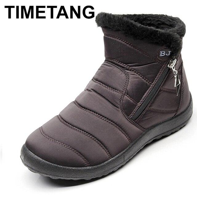 TIMETANG2018 Kış Ayakkabı Kadın Kar Botları Içinde Peluş Botas Mujer Su Geçirmez Artı Boyutu 43 Kış Çizmeler Kadın BootiesE229