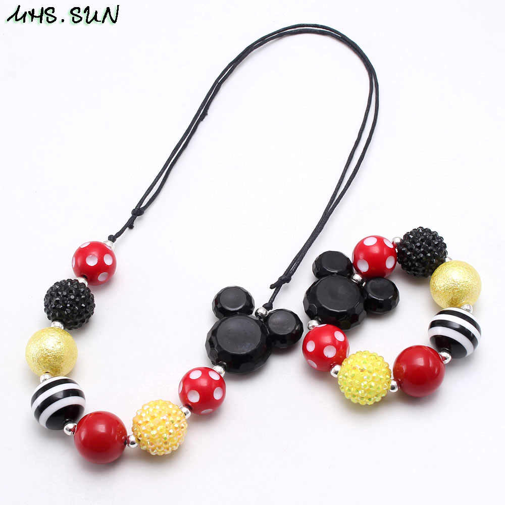 MHS.SUN Cute baby cartoon necklace diy kids children chunky bubblegum beads necklace & bracelets fashion kids rope chain jewelry