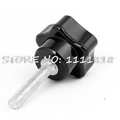 Black Handle M6 Male Thread Plastic Head Metal Clamping Star Screw On Knob 2pcs 40mm x 8mm male thread five pointed star head screw knob handle