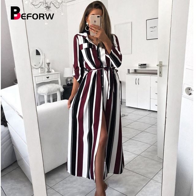 BEFORW 2019 משרד ליידי תורו למטה צווארון כפתור תחרה עד ארוך חולצה שמלת נשים סתיו האביב ארוך שרוול פס מקסי שמלות