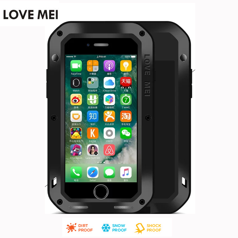Original Lovemei for Apple iphone7 7 Plus Shockproof Life Waterproof Metal Case for iphone 7 Aluminum Phone Bag Case Cover
