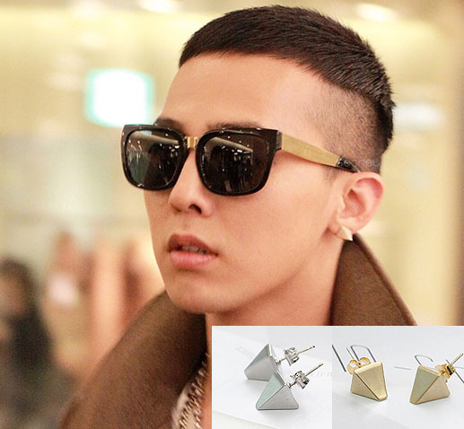 Asmama Bang Gd Pyramid Stud Earring Male Personality Gold Silver In Earrings From Jewelry Accessories On Aliexpress Alibaba