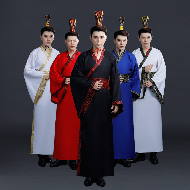 Ancient Chinese Costume Men Traditional Chinese Dance Clothing For Women Long Sleeve Hanfu Satin Robe Dress Boy Qing Dynasty
