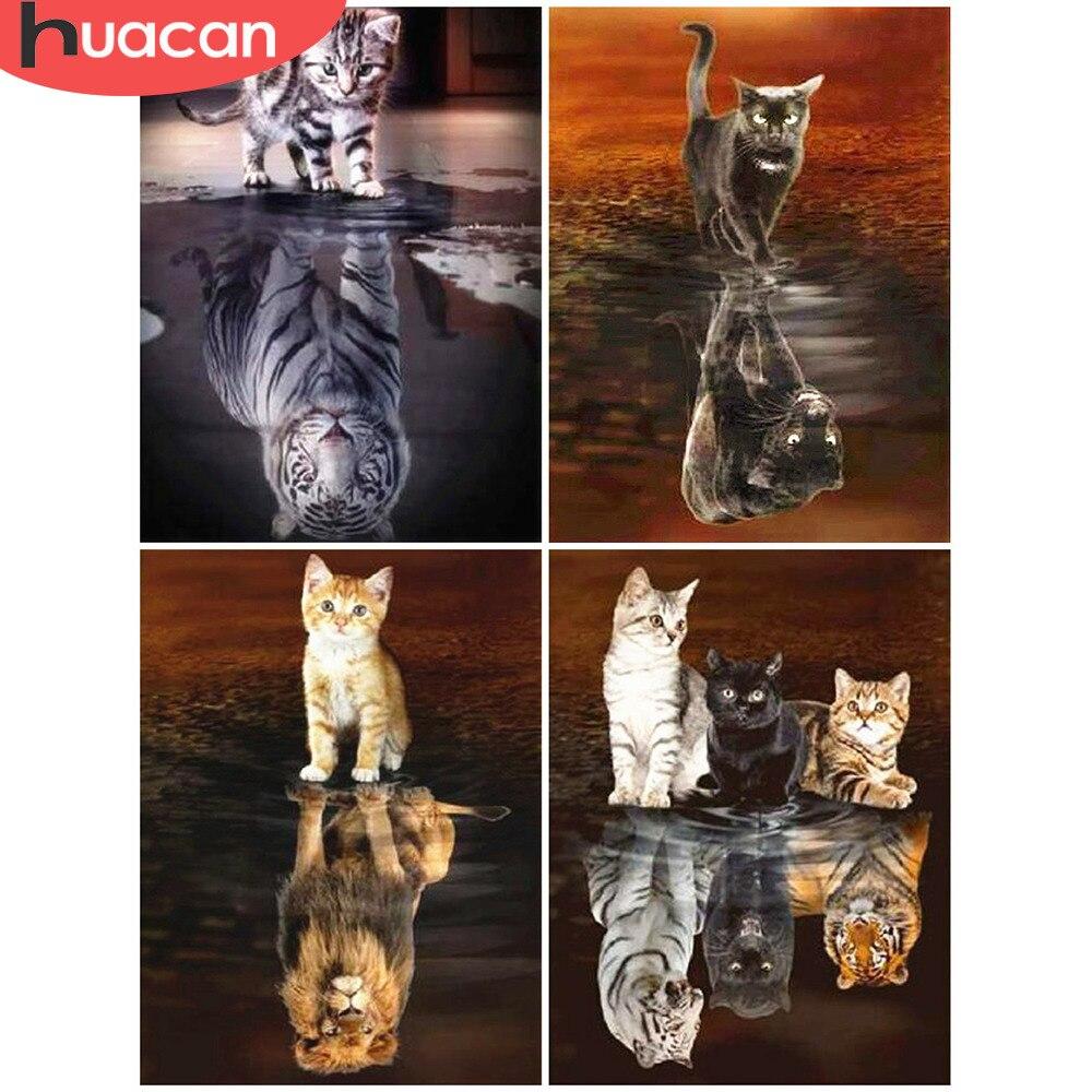HUACAN Diamond Mosaic Cat 5D Diamond Painting Kit Animal Full Square Diamond Embroidery Sale Rhinestone Picture Decor Home