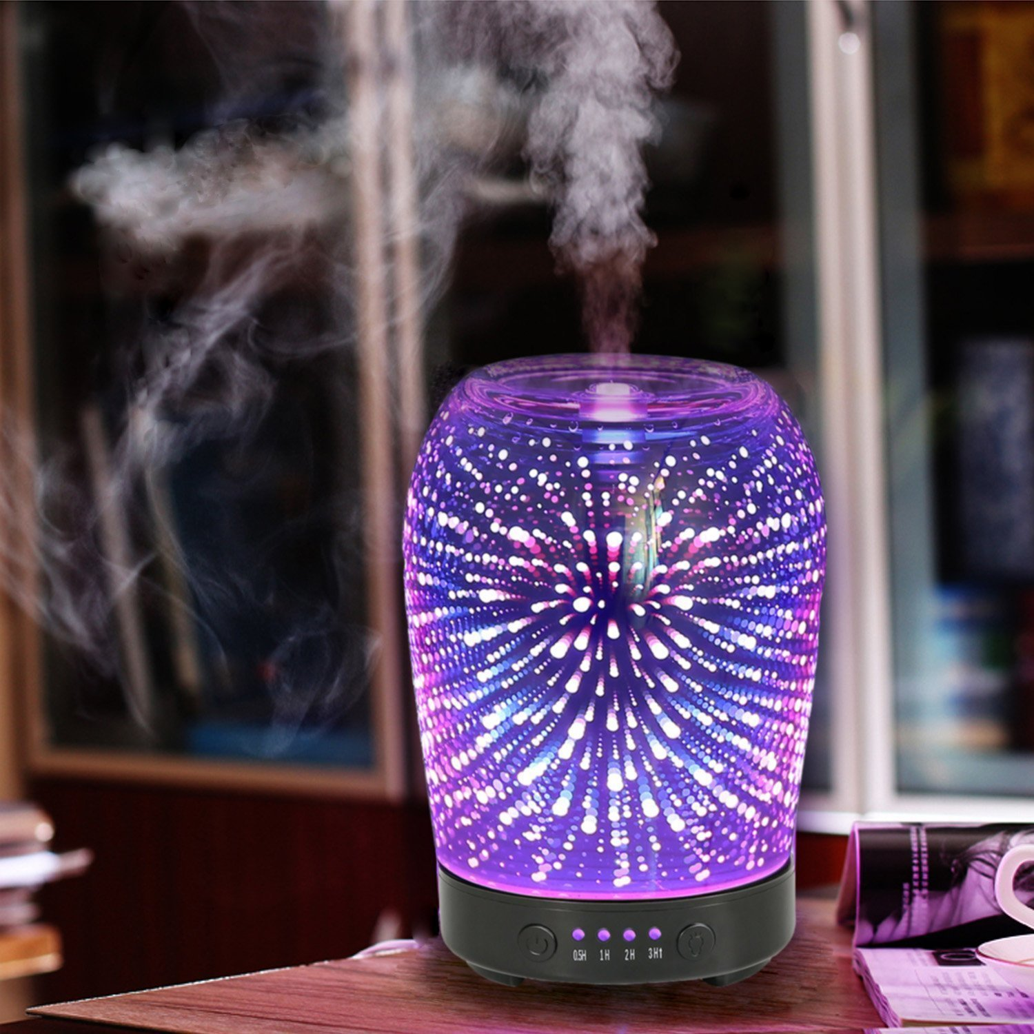 3D Humidifier Glass LED Night Lights Ultrasonic Aromatherapy Essential Oil Diffuser Ultra-quiet Portable Home Humidifier 7 colors leds night light 3d glass humidifier home essential oil diffuser aromatherapy air purifier 2018 new