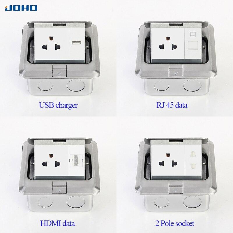 JOHO boîtier de sortie rapide en alliage d'aluminium 15A US prise 2 pôles RJ45 HDMI USB - 5