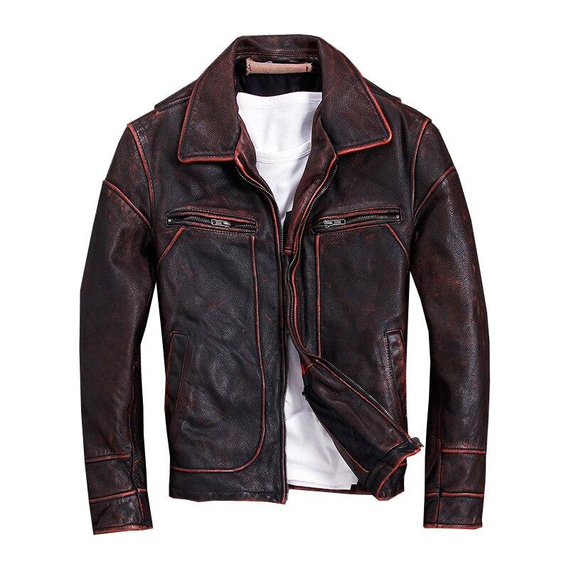 2018 Vintage rouge marron hommes américain Style décontracté veste en cuir grande taille 5XL véritable peau de vache automne cuir manteau livraison gratuite