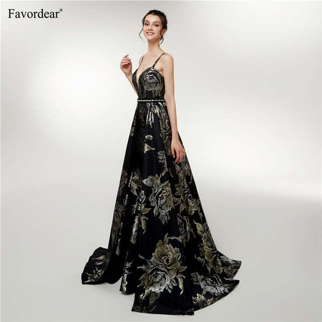 aa4af5c815d Online Shop Favordear Robe De Soiree Satin Formal Dress Women 2019 A Line  Long Evening Gowns Vestido De Festa Gold Black Evening Dress