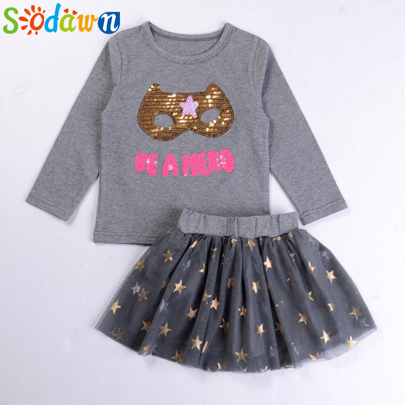 Sodawn Girls Clothing Sets Baby Girl Clothes Kids Clothing Brand Girls Dress Children Clothing Sequins Mask Long Sleeve+Dress 100% real photo brand kids red heart sleeve dress american and european style hollow girls clothes baby girl clothes