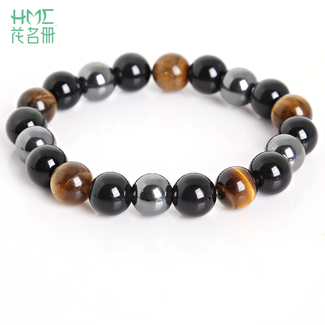 Тигровый глаз и гематита и черный обсидиан 10 мм камень браслет украшения для wo Для мужчин подарок Для мужчин браслет