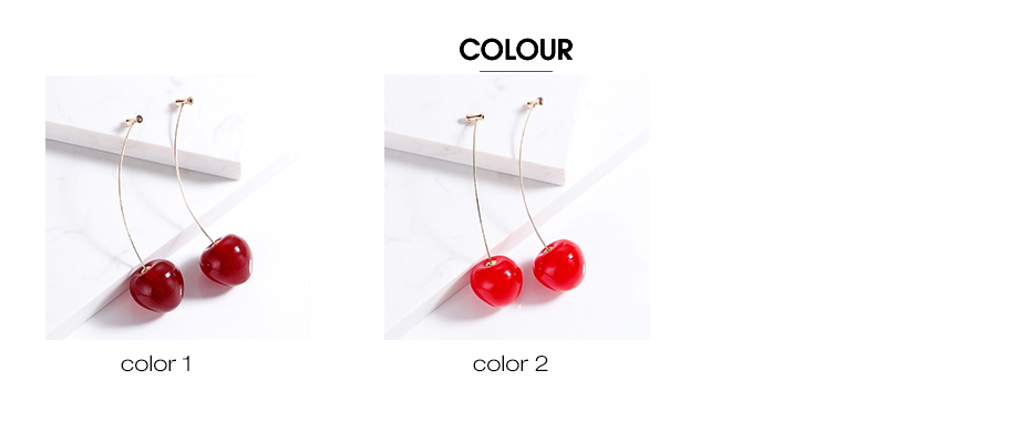 Cute Fruit Cherry Earrings Acrylic Long Red Earrings For Women Removable Elegant Jewelry Wedding Cherry Accessories Jewellery 4