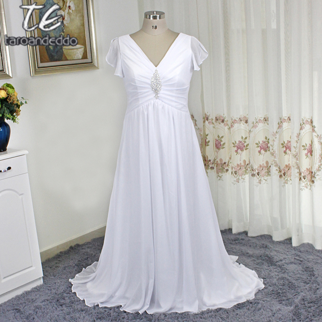 Flattering Cap Sleeves Ruched Plus Size White Chiffon Wedding ...