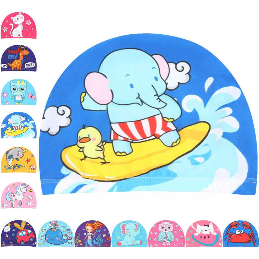 Kids Children Cute Cartoon Fabric Swimming Cap Swiming Pool Water Sport Protect Ears Hat Swim Bathing Hats Caps for Boys Girls