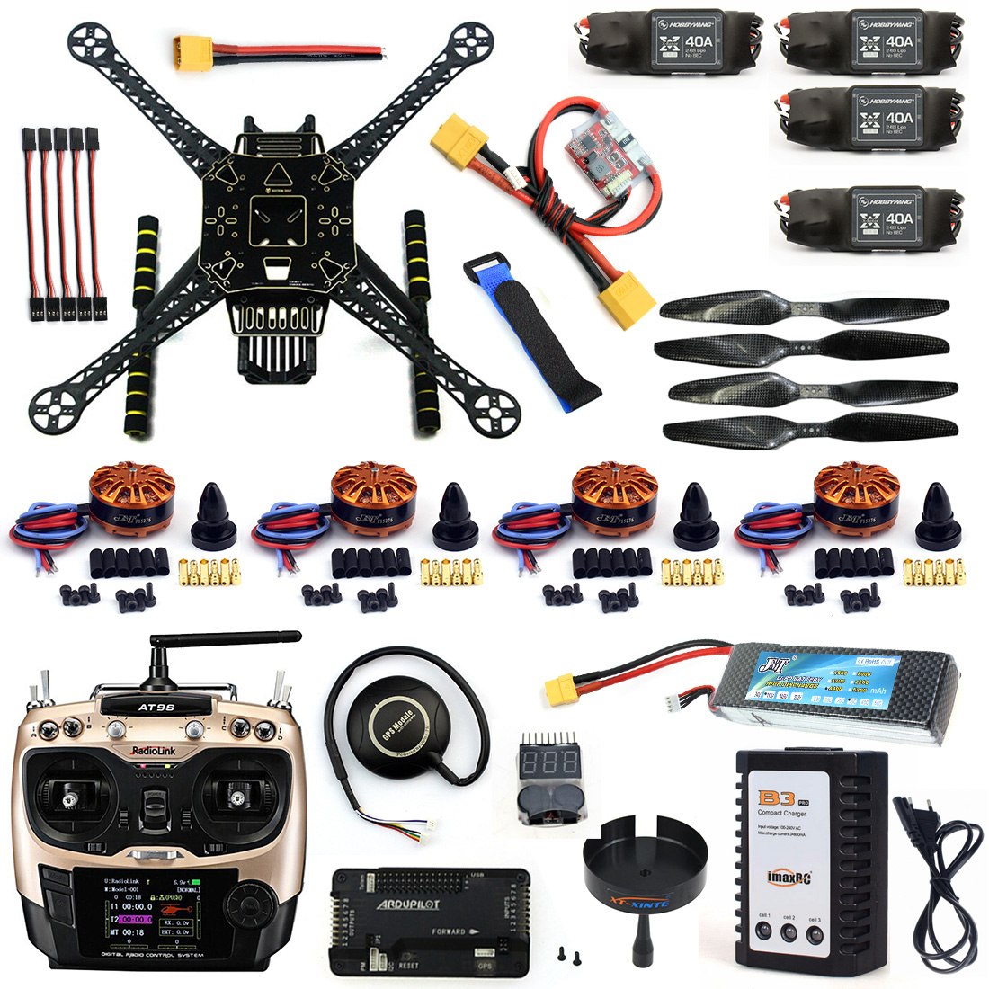 F19457-H DIY 4 Axle RC FPV Drone S600 Frame Kit with APM 2.8 No Compass 700KV Motor 40A ESC with Battery Charger AT9S TX