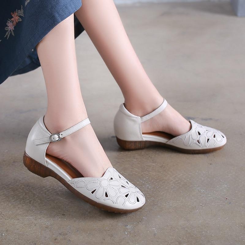 Bordado Hecho Plano De Del Sandalias Mula Mano Blanco Mujeres blanco Verano Zapatos Negro Genuino Tacón 2019 A Las Cuero Mujer xSvAR