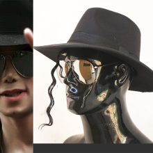MICHAEL JACKSON MJ  Black Hats Classic Fedora With Few of Wig Frog Big Size Silver Sunglasses Halloween Costume