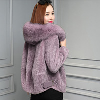 New Arrived Women Faux Fox Fur Collar Hooded Jacket Thick Warm Plush Teddy Coat Office Lady Elegant Winter Coats Veste Polaire
