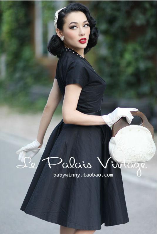 a Mince Vintage Classique Élégant Noir Robe Palais Gratuite ligne 1950 Rétro Livraison XOkuiZP