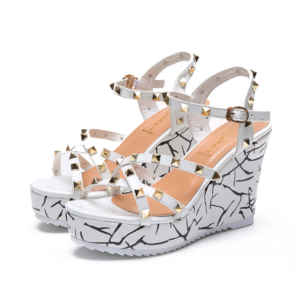 Zapatos Mujer 2018 Shoes Woman Sandals Wedge Summer Lady Fashion High Heels Sandals Elegant Rivets Women Shoes Platform Wedges 49
