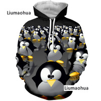 Liumaohua New Cute Animal Penguin 3D Print Hoodie Unisex Hipster Good Quality Tops