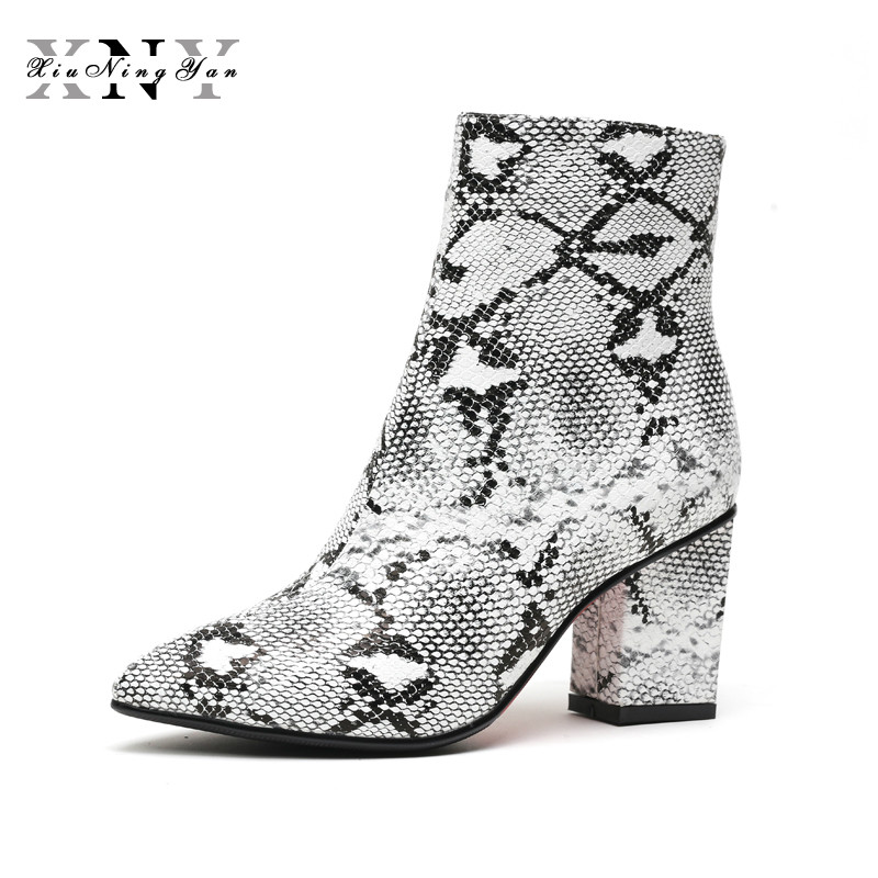 XIUNINGYAN Print Snakeskin Women Ankle Boots Zip Pointed Toe Footwear Thick High Heels Female Boot Party Winter Shoes Woman 2018 facndinll print snake microfiber leather ankle boots for women pointed toe footwear high heels female party winter boots women