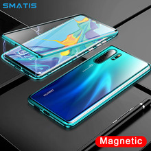 Magnetic Case for Huawei P30 Pro Full Body Protective Luxury 360 Absorption Waterproof Tempered Glass Cover Funda Curved Surface