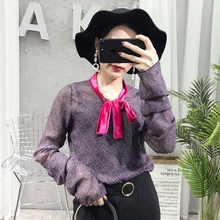 Women Blouses Limited Women Shirts 2017 Spring New Ripple Perspective Chiffon Shirt Bow Is Thin Fashion Long-sleeved Female