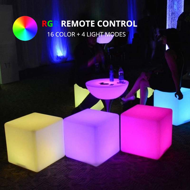 50x50x50CM 16-Color <font><b>LED</b></font> Cubic Stool Furniture Remote Control RGB <font><b>LED</b></font> <font><b>Cube</b></font> Light for Indoor Outdoor Courtyard Bar Christmas Party image