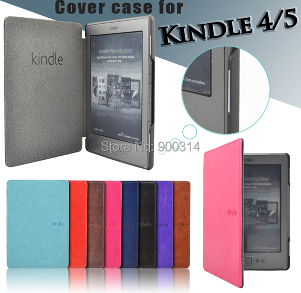 folio pu leather case for Amazon kindle basic 4/5 fro kindle 4/5 case  generation magnet cover+screen protector(China)