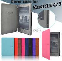 Funda de cuero de pu folio para Amazon kindle basic 4/5 para kindle 4/5 funda de generación de imán + protector de pantalla
