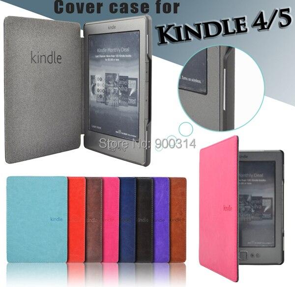 Funda de cuero pu folio para Amazon kindle basic 4/5 fro kindle 4/5 funda generación imán cubierta + protector de pantalla