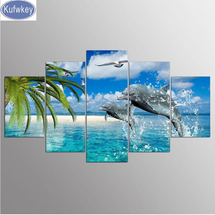 5 pz/set 5D FAI DA TE Pittura Diamante delfino Ricamo Mare Pieno di Diamanti Quadrato a Punto Croce di Strass Mosaico di immagini Nuovo arrivo