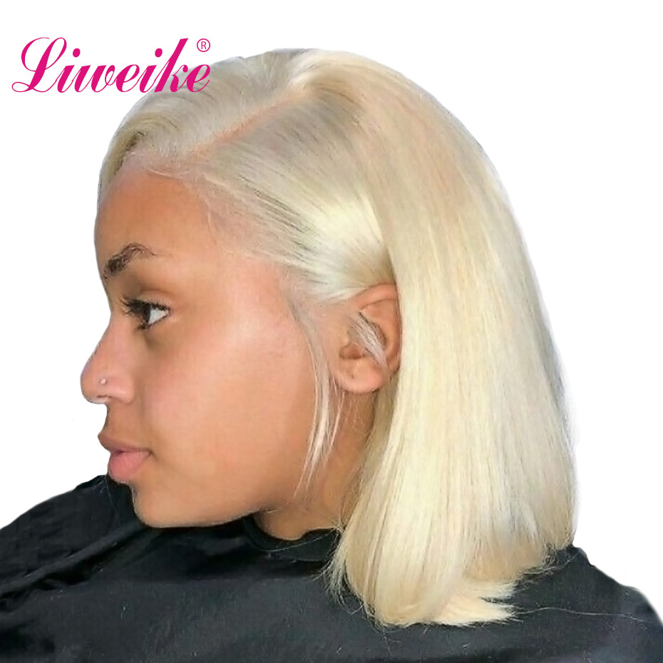 Liweike Lace Front Short Bob Wigs Human Hair Wigs Thick Layers 613 Color Blonde Color Wig