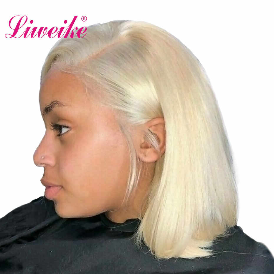 Liweike Lace Front Short Bob Wigs Human Hair Wigs Thick Layers #613 Color Blonde Color Wig Remy Hair Pre Plucked Hairline Wig
