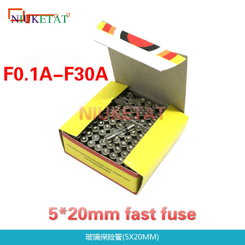 <font><b>100pcs</b></font>/box 5*20mm Glass fuse 0.1A-30A Fast fuse 250V 5*<font><b>20</b></font> F0.1A-F30A 250V High Quality Glass Fuse New and original image
