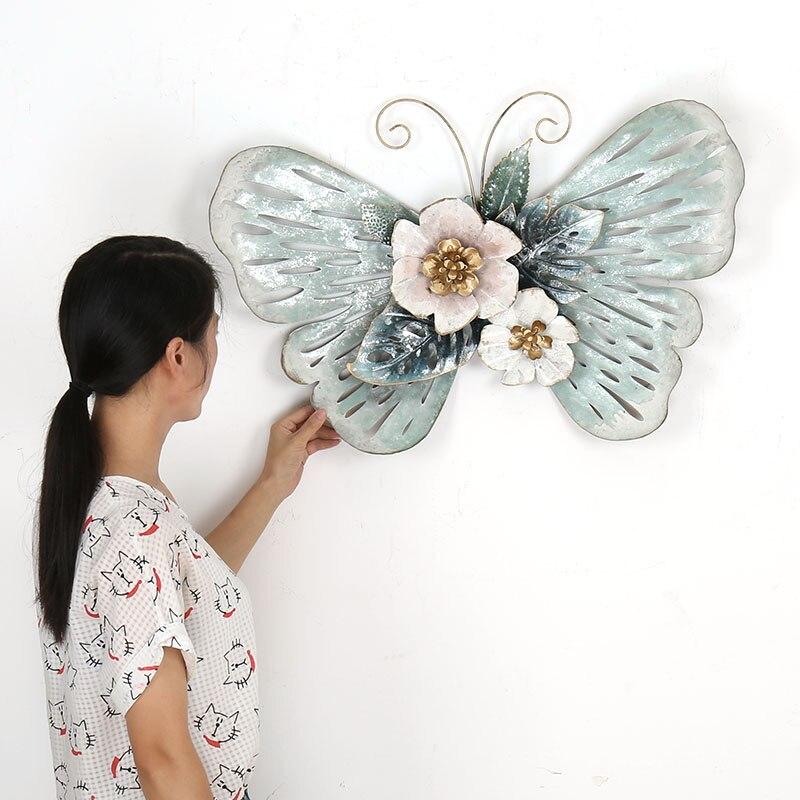 Style européen 3D stéréo en fer forgé papillon mur décoratif salon tenture murale artisanat Art ornement R1270 - 6