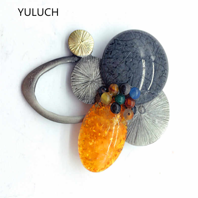 muticolour  Fashion Brand New Glaze  Lucky Grass leaf gem Vintage stone abalone shell jewelry vintage  butterfly brooch