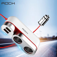 ROCK 2 in 1 Dual USB Car Charger 5V/4.8A Fast Charging Multifunction 4 Ports Car Chargers For iPhone 5S XS Max XR Samsung Huawei 2 1 car charger with dual usb ports