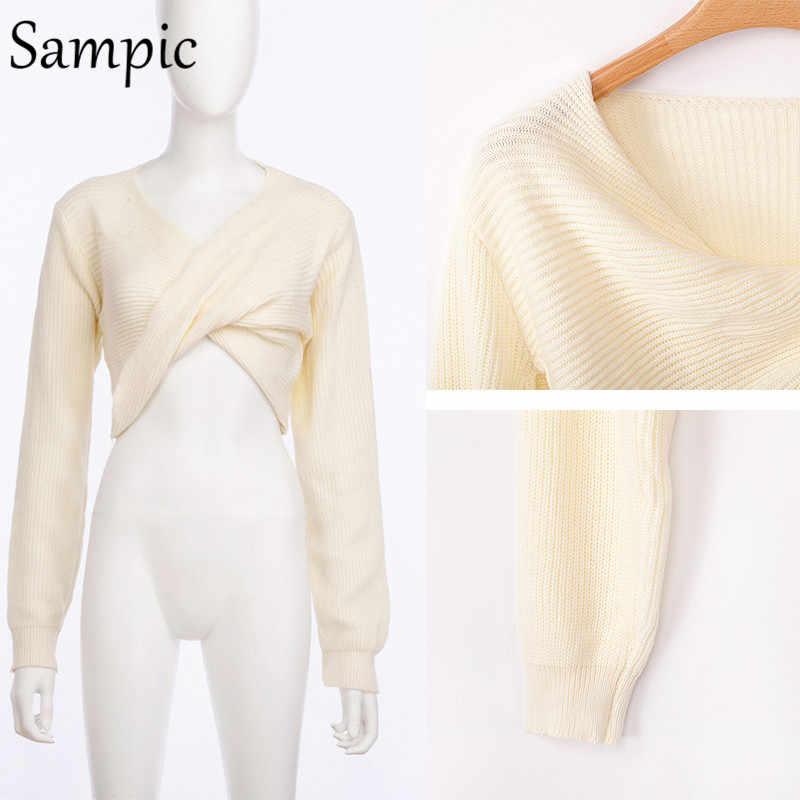 Sampic пуловер с длинными рукавами вязаный зимний женский свитер сексуальный Повседневный укороченный топ осенний пуловер с v-образным вырезом белый короткий свитер 2019 Топ