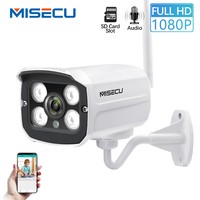 MISECU Wired Wifi Camera Outdoor Audio Record with SD Card Slot Waterproof Night vision Motion Detection 1080P 960P 720P