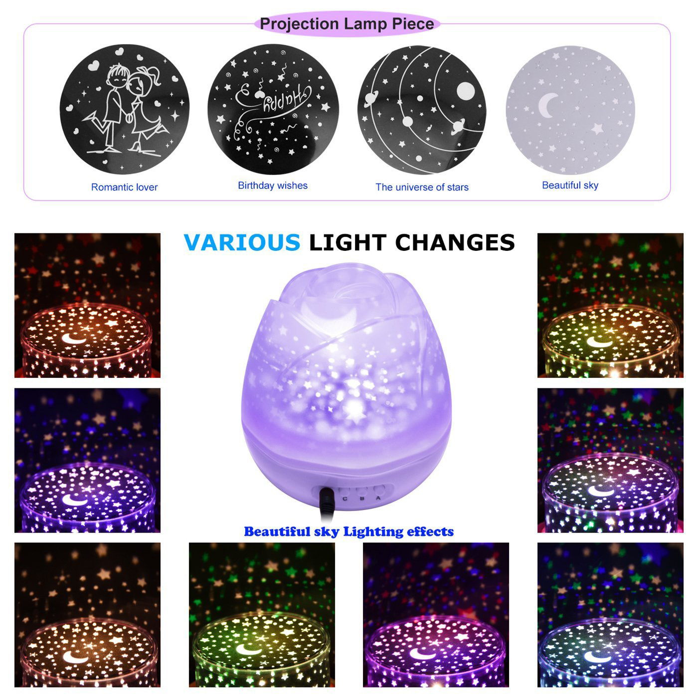 New Star Moon Sky Rotation Night Light Romantic Projector Light Projection with High Quality Kids Bedsides Led Flower Lamp P20 цена и фото