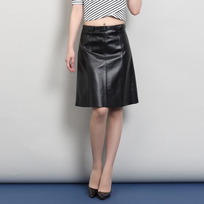 Svadilfari 2018 Europe Fashion Genuine Leather Skirt Women Vintage Low Waist Office Skirt Faldas Female Skirts Saias(Send Belt)