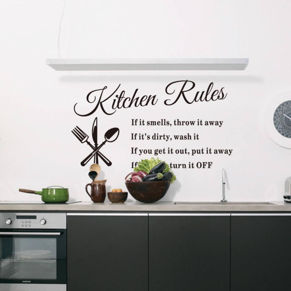 compare prices on wall stickers for kitchen rules online shopping kitchen rules vinyl kitchen wall stickers for kids room lettering art quote decals home poster sofa