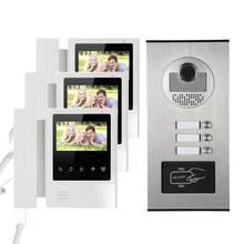 بناء الفيديو نظام اتصال داخلي باب أر أف أي دي الهاتف 3 شاشات الحائط ل 3 شقق
